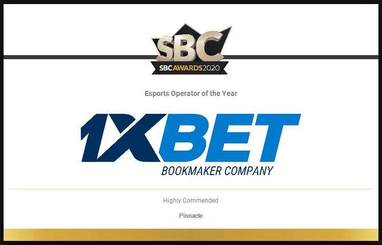 1xBet awarded as esports operator of the year at the SBC awards 2020